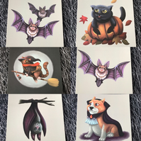 Set of 7 Halloween Square Post Cards