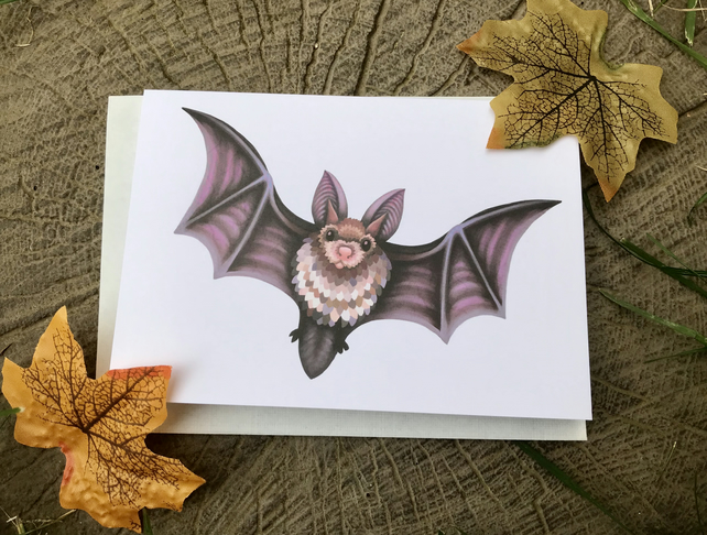 Flying Bat blank greeting card