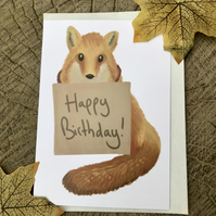 Happy Birthday Fox Greeting Card