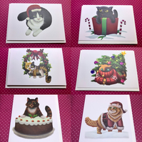 Set of 6 Christmas Cat Cards