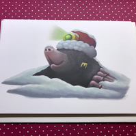 Christmas Mole Blank Greeting Card