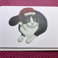Christmas Cat Blank Greeting Card