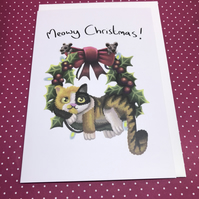 Meowy Christmas Blank Greeting Card