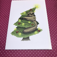 Christmas Tree Sloth Greeting Card