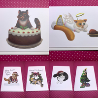 Christmas Cats - Set of 6 cards