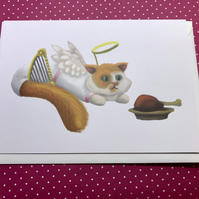 Angel Cat Blank Greeting Card
