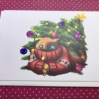 'Winter' Christmas Tree Cat blank greeting card
