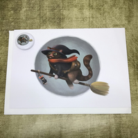Witch Cat Blank Greeting Card and Mini Badge or Magnet Set