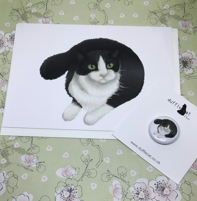 Black & White Cat Blank Greeting Card and Mini Badge or Magnet Set