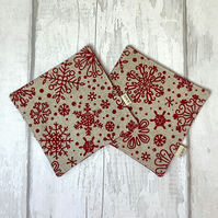 Christmas Coaster Set - Red Snowflakes - Quilted