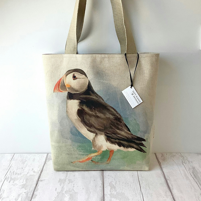 Long Handled Tote Bag - Puffin - Birds - Coastal