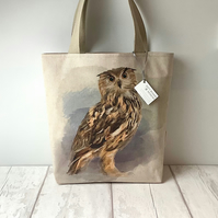 Long Handled Tote Bag - Owl - Owls - Birds