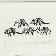 Five Three-banded Armadillos - lino cut print