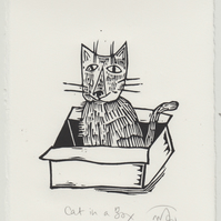 Cat in a Box - lino print