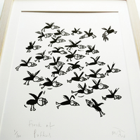 Flock of Puffins - lino cut print