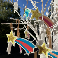 Sparkly Shooting Star Hanging Decorations