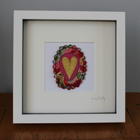 Sparkle Heart Free Motion Embroidered Textile Art