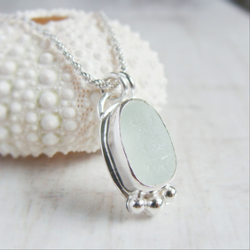 Sterling Silver Seaham Sea Glass Pebble Pendant Necklace Pale Blue No.3