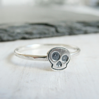 Sterling Silver Skull Ring, Carpe Diem, Memento Mori Slim Stacking Band