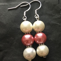 Costume cream and pink Pearl earrings