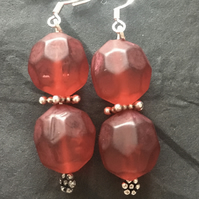 Red chunky bead earrings
