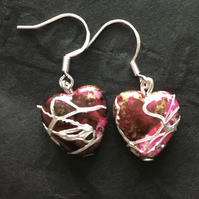 Red with silver heart earrings