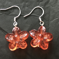 Red flower bead earrings