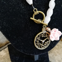 Pink Bronze Clock Toggle Pendant