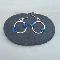 Sterling silver flower earrings, round earrings, enamel, flowers