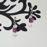 Crystal and bead drop earrings, swarovski crystal earrings, dangle earrings