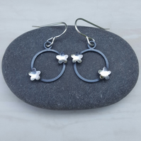 Sterling silver & black flower earrings, round earrings, drop earrings