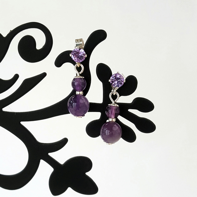 amethyst earrings, crystal studs, bead earrings, bead jewellery