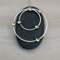 Silver circles & brass necklace, silver pendant, minimalist jewellery
