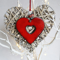 Decorative wicker heart with red ceramic heart - large