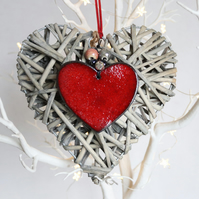 Decorative wicker heart with red ceramic heart - small