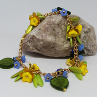 Spring (April) Daffodils, Flowers Leaves Beaded Charm Bracelet