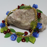 Spring (May) Bluebell, Flowers Leaves Beaded Charm Bracelet