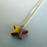 Star yellow grey pendant necklace