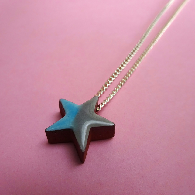 Star blue grey pendant necklace