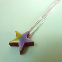 Star green grey pendant necklace