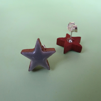Grey and terracotta star stud earrings