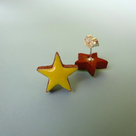 Yellow and terracotta star stud earrings