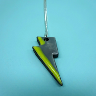 Yellow ceramic lightning pendant neclace