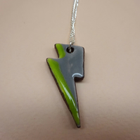 Green ceramic lightning pendant neclace
