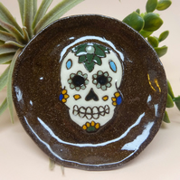 Small ceramic dish with sugar skull, day of the dead