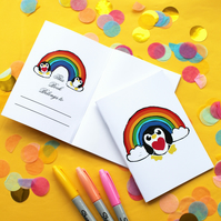 Rainbow Penguin A6 Notebook