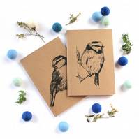 A6 Blue Tit Pocket Notebook with Lined or Plain Pages in 2 Designs