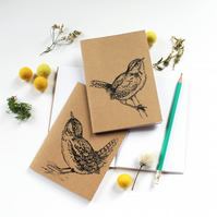 A6 Wren Pocket Notebook with Lined or Plain Pages Bird Notebook