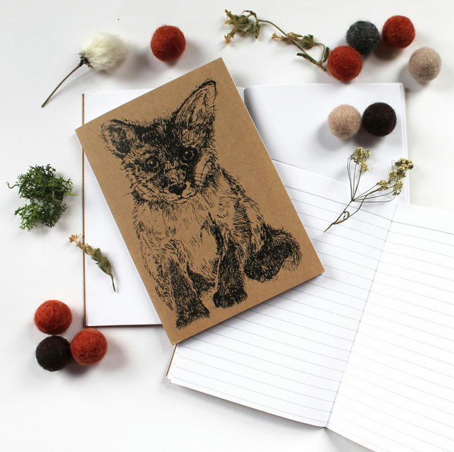 A6 Fox Cub Pocket Notebook with Lined or Plain Pages
