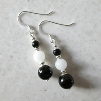 Black Onyx & White Jade Gemstones Beaded Earrings With Sterling Silver